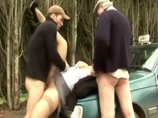 4th Month Pregnant French Milf Fall Into Trap Of Creepy Taxi Driver And His Friend Gets Hard Fucked In The Woods