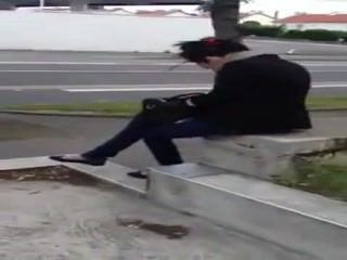 Guy Jerks And Cums On A Girls Back While Waiting On A Bus At Bus Station