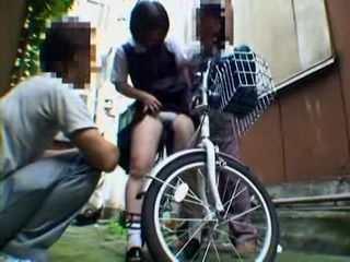 Naive Bicyclist Teen Gets Fucked By 2 Awful Guys In The Alley