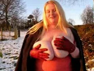 English Mature Showing Her Huge Saggy Boobs Outside In Public