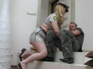 Chubby Blonde Milf In Uniform Took Advantage Of Her Colleague Just For One Good Fucking