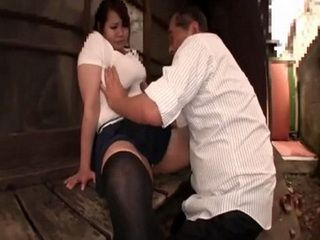 Busty Japanese Housewife Banging In The Backyard Of Her Neighbor