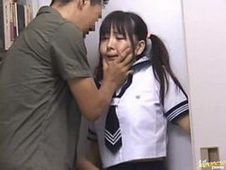 Cute Japanese Schoolgirl In Uniform Threatened and Sexually Abused In The School Library