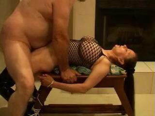 Amateur Busty Girl Gets Tied To A Table And Fucked By A Fat Pervert