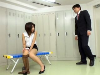 Japanese Girl Fucking Her Colleague In A Company Changing Room During Working Hours