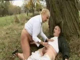 Granny Handjob In Woods
