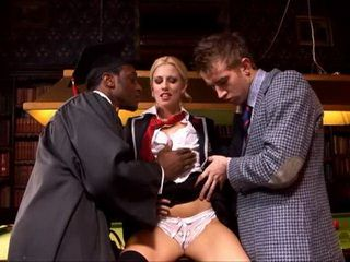 Spoiled Daddys Girl In Schoolgirl Uniform Hard Gangbanged By Black And White Cock