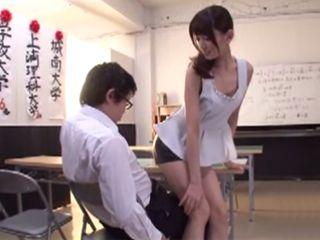 Hot Teacher In Leather Skirt Saducing Young Boys In School  Kijima Airi