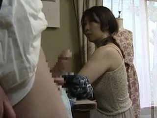 Horny Japanese Boy Flashes On His Stepmother
