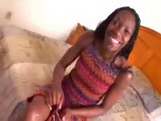 Smiling Ebony Girl Is Ready To Try For The First Time White Dick In Her Wet Pussy