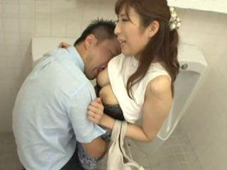 Gorgeous MILF Akari Nanahara Made Big Mistake For Entering Mans Toilet