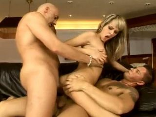 Blonde Girl Trying Hard To Handle Two Fat Cocks