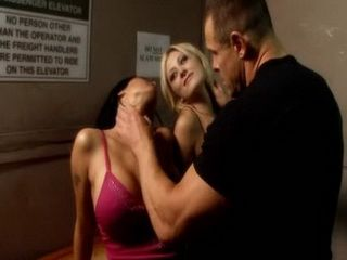 Blonde and Brunette Milf Teased Muscle Man and Fucked Badly Cause of that