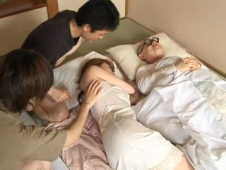 Two Boys Awakes and Fucks Uncles MILF Wife Right Next To The Sleeping Uncle
