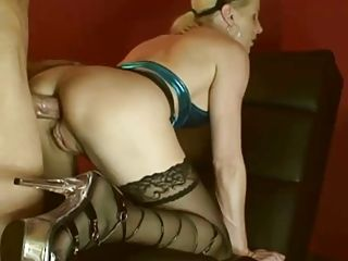 Amateur German Blonde Milf In Stockings Fucked In Ass With Big Cock Homemade