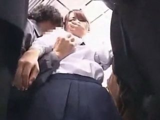 Shy Asian Schoolgirl Groped And Molested In The Train Full Of Maniacs