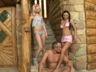 Older Guy Get Unforgettable Sex Experience With Two Sexy Girls
