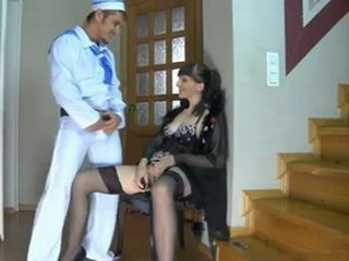 Young Sailor Anal Fucks Mature Hotel Proprietress In Front Of His Apartment