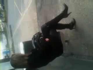 Guy Cums Over Blonde Girl at Bus Station