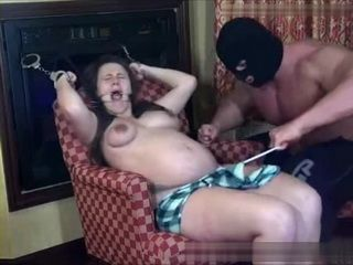 Pregnant Handcuffed Woman Gets Fucked By Muscular Masked Intruder