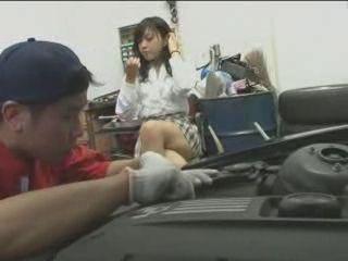 Japanese Girl In Short Skirt Will Be Fucked By Horny Car Mechanic Guy
