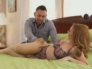 Naughty Stepson Busted His Hot Milf Stepmom Laying In Sexy Lingerie On Bed And Could Not Resist Her