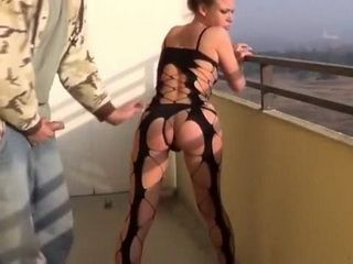 Hot Teen Dick Sucked And Fucked From Behind On The Balcony Of Higest Building