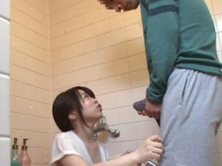 Young Japanese Maid Helping Her Eployer With A Boner While Cleaning The Bathroom