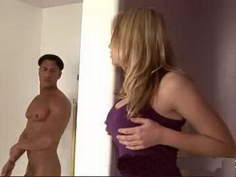 Shameless Blonde Busted While Spying On BFs Father Showering