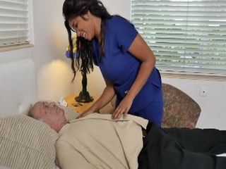 Busty Latin Nurse Will Do Anything For Old Sick Guy To Feel Better