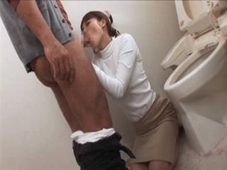 Daughter In Law Gives Blowjob To Father In Law In Toilet While Her Husband Is In Living Room