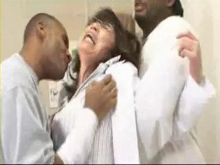Mature Japanese Doctor Lady Gets  Fucked By 2 Black Guys at her Office