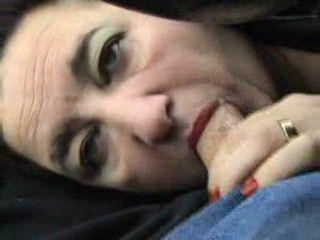 Granny Blowjob and Cum Swallow In Car