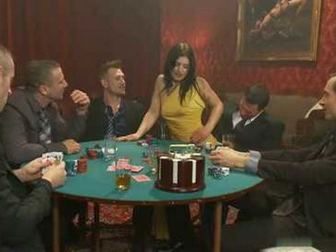 Brunette Slut Pay The Price for Disturbing Guys While Playing Poker