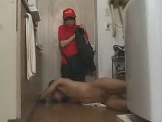Shocked Shy Delivery Girl Find Naked Boy On Delivery Place