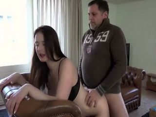 Pervert Father Fucks Busty Daughter Best Friend On The Leather Couch
