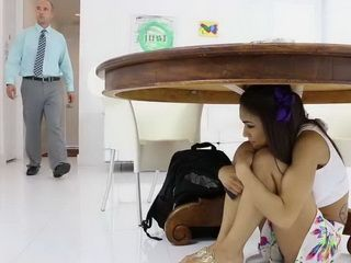 Rebellious Schoolgirl Is Hiding From Her Stepdaddy Just Not To Punish Her For Not Going At School