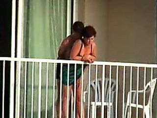 Amateur Couple Caught Fucking On The Terrace
