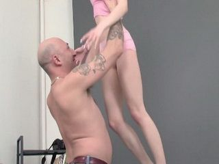 Elder Tattooed Guy With Enormously Huge Dick Banging Tiny Teen Brunette In Her Ass And Pussy
