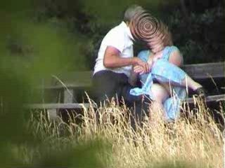 Grandpa and Granny Taped Fucking In Park By Voyeur
