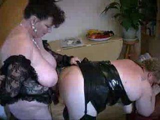Mature British BBW Granny Lesbians Strapon Anal Fuck