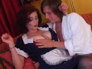 Naughty Boy Swoops and Fucks Busty Milf Maid