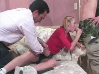 Father Joins Son To Fuck His Teen Girlfriend
