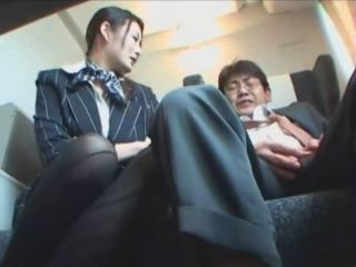 Train Hostess Heals Old Guys Cock With Blowjob