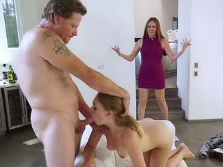 Horny Stepfather Fucking His Cute Stepdaughter Even When Her Mom Are Watching
