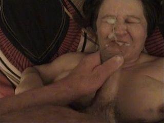 Amateur Granny Gets Messed Up Facial Cumshot