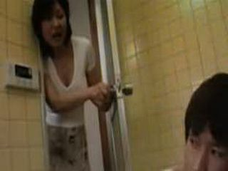 Japanese Stepmother Insist to Help Shy Stepson to Take A Bath