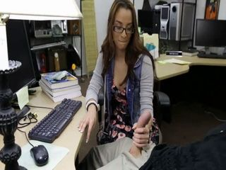 Teen With Glasses Had To Pawn Her Pussy To Get Cash