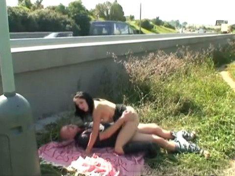 Teen Hooker Fucks Old Guy In Public By The Highway