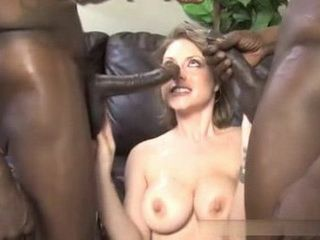 Hard Double Penetrated By 2 Monster Black Cocks